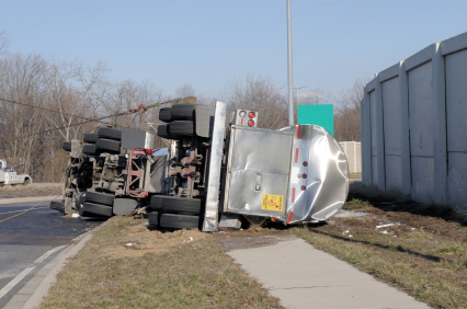 commercial truck flipped over after an accident