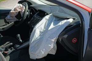 car accident with driver and passenger airbags released